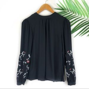 Loft Womens Black Embroidered Long Sleeve Top XS